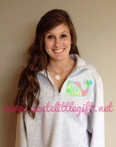 1/4 zip  Monogrammed sweatshirt with Lilly Pulitzer fabric Whale appliqué on Etsy, $40.00
