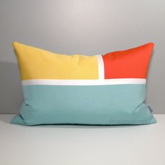 Blue U0026 Yellow Outdoor Pillow Cover, Decorative Sunbrella Pillow Cover,  Modern Color Block Pillow Cover, Melon Orange White Cushion Cover