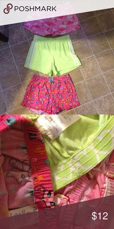 3 pairs of sleep shorts   Girls Sz Large (10/12) 3 pairs of sleep shorts   Girls Sz Large (10/12) Children's  Place - pink with kitty cats.   Faded Glory - lime green.   Old Navy - pink with clouds and stars. Old Navy Pajamas Pajama Bottoms