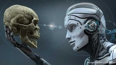 Robot with Artificial Intelligence observing human skull in Evolved Cybernetic organism world. rendered image - Buy this stock illustration and explore similar illustrations at Adobe Stock Daniel Mastral, Image Youtube, Future Predictions, Artificial Intelligence Technology, Skull Illustration, Scp, Angst, Visual Effects, Trance