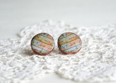 Surgical steel big round wood studs wood plank by MyPieceOfWood, $16.00