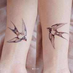 LAZY DUO Bird tattoo Swallow Tattoo Animal tattoo Flash #Monocolor-White/Black