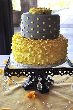 Gray & Yellow Petal Ruffle Cake. Really like the petal ruffle layer.