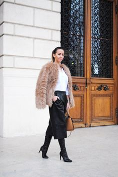 Let`s talk about fashion !: Furry Coat and Faux Leather Culottes