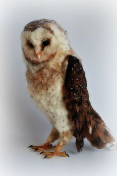 Needle felted owl. Barn owl. Wool owl. RESERVED by darialvovsky