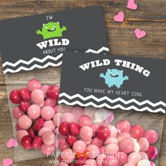 Valentine's Day Gift Bag Topper - DIY Printable - Kids - Wild Thing. Etsy.