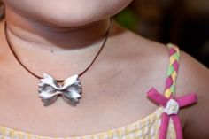 Macaroni necklaces have been a staple of kid's crafts forever. This summer step up your crafting skills by making these fun bow tie pasta necklaces or pins. Bow Ties have become increasingly popular as racks of them are major department stores, so why not let the little ones make cute faux bow ties for themselves.