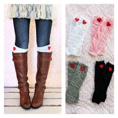 Ruffle Boot Cuffs Girl's Women's Ruffle Leg Warmers w Red Felt Hearts. Boot Socks Leggings Boot Cuffs Boot Toppers. Pink Red Gray Grey Black