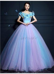蝶々飾りの綺麗目甘美ロングドレス 結婚式ドレス 披露宴ドレス