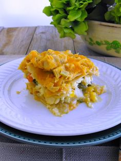 Chicken Pot Pie Lasagna: all the taste of a pot pie without having to make a crust. Gluten Free options included