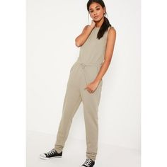 Missguided loop back sleeveless jumpsuit (£14) ❤ liked on Polyvore featuring jumpsuits, green, playsuit jumpsuit, white jumpsuit, missguided jumpsuit, sleeveless jumpsuits and white sleeveless jumpsuit