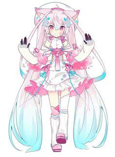 Chica Gato Neko Anime, Chica Anime Manga, Anime Neko, Anime Girl Cute, Kawaii Anime Girl, Anime Art Girl, Anime Girls, Anime Drawings Sketches, Kawaii Drawings
