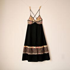 Vintage. Young Edwardian. 70's Black Boho Babydoll Sundress. So gorgeous.