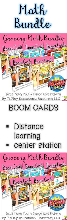 Bundle Boom Cards Grocery Store Money Math is a fun way to practice basic calculation, life skills, and math word problems.Boom Cards™ are compatible with Google Classroom™ .Assign Boom Cards with Google Classroom™. Boom Learning is an Academics' Choice Awards™ Smart Media award winner.