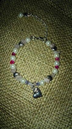 Christening 1st birthday girls bracelet fuax pearls crystal tibetan silver hearts rose quartz https://m.facebook.com/LaceOfHeartsJewellery