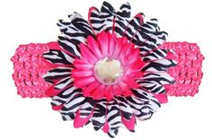 Hot Pink Black White Zebra Jewel Gerbera Daisy Flower Pink Crochet Headband Gerber - girls child baby toddler apparel head... $1.80 #bestseller