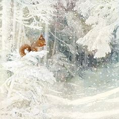 Snow Squirrel - christmas card design by Jane Crowther for Bug Art greeting cards.
