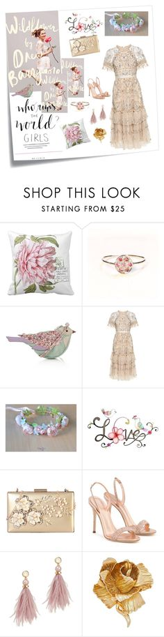 """Girl Power Prom"" by vualia ❤ liked on Polyvore featuring Post-It, Mantaray, Needle & Thread, WALL, Rimen & Co., Giuseppe Zanotti, Lizzie Fortunato, Christian Dior, flowergirl and flowercrown"