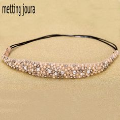 Metting Joura Women Girls Bohemian Vintage Cubic Beads Crystal Rhinestone Headband Hair Accessories