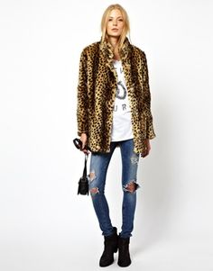 Image 4 of ASOS Longline Animal Faux Fur Coat.