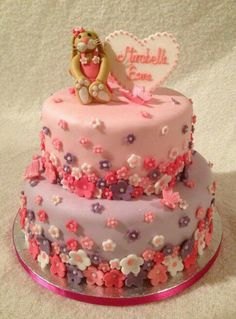 Pretty first birthday cake or christening cake