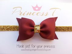 Girl/Baby Headband Burgundy Hair Bow w/ by BowtiquebyprincessT
