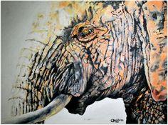 Orange elephant (oil)