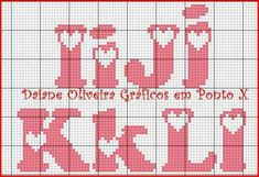 Letras punto cruz Cross Stitch Letters, Cross Stitch Love, Knitting Charts, Loom Knitting, Plastic Canvas Letters, Crochet Letters, Pixel Pattern, Hama Beads Patterns, Letter Patterns