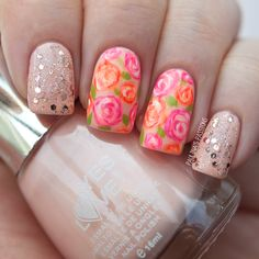 Pink & Orange Roses Nails from Paulina's Passions