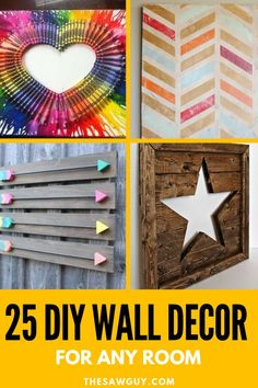 DIY wall decor is a fun way to change the look of your room while on a budget. From homemade artwork to simple woodworking projects, check out our list of 25 DIY wall decor ideas for inspiration. Most of these crafts are great for beginners and teens too! Bedroom Decor For Women, Diy Wall Decor For Bedroom, Bedroom Ideas, Decor Room, Cozy Bedroom, Diy Projects For Kids, Diy Pallet Projects, Wood Projects, Project Ideas