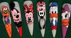 Disney Acrylic Nails, Disney Nails, Cute Nails, My Nails, Cartoon Nail Designs, Bella Nails, Disney Theme, Flower Nails, Easy Nail Art