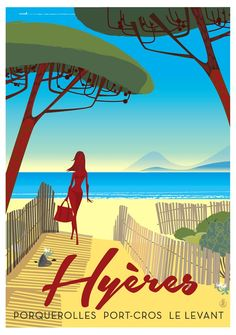 FRENCH RIVIERA vintage travel poster Hyères