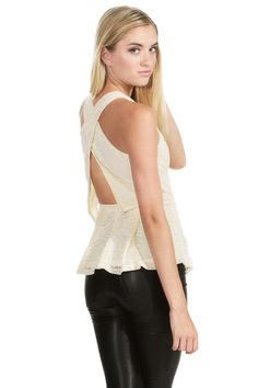 This peplum Sugarlips Subtraction Of Color Top is cream in color and has a lace fabric that says sophistication. Pair this with boyfriend jeans and a stiletto heel boot and you have a perfect lunch outfit. #MyLuluCloset #Sugarlips #Storenvy #Sales #Tops