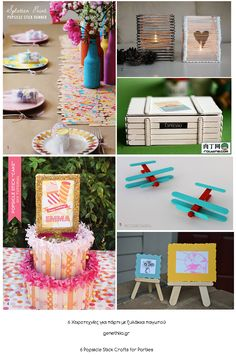 ξυλακια παγωτου χειροτεχνιες για παρτι - Popsicle Stick Party Crafts