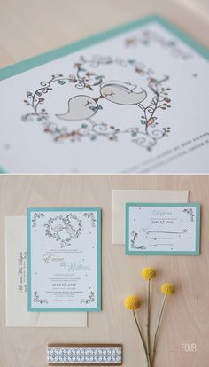 50 best bird wedding ideas: #4 bird wedding invitations (by jen simpson design)