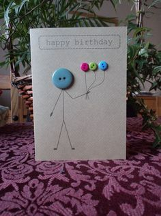 Birthday card made with buttons and brown Kraft card is creative inspiration for us. Get more photo about home decor related with by looking at photos gallery at the bottom of this page. We are want to say thanks if you like to share this post to another people via …