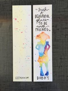 Hand Painted Harry Potter Art // Dobby Watercolor Bookmark