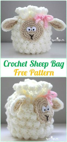 Crochet Sheep Drawstring Bag FreePattern - Crochet Kids Bags Free Patterns