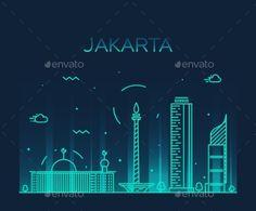 Jakarta Skyline by gropgrop Jakarta skyline detailed silhouette Trendy vector illustration linear style