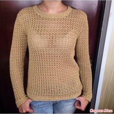 Песочный пуловер, связаный крючком.