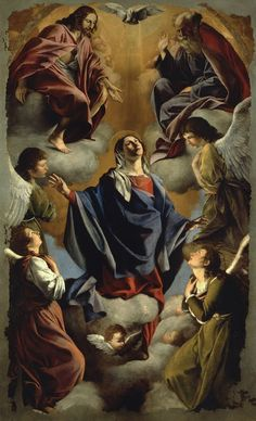 """""""Our Lady of the Assumption Orazio """" Catholic Pictures, Jesus Pictures, Art Pictures, Blessed Mother Mary, Blessed Virgin Mary, Religious Images, Religious Art, Orazio Gentileschi, Assumption Of Mary"""