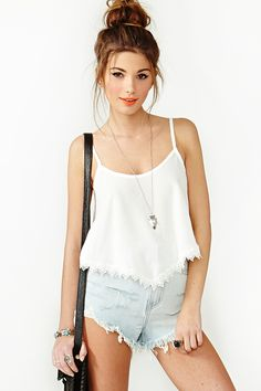 Summer Lace Crop Tank in Ivory