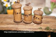 Love the way the fairy canister set turned out! Used a dowel with acorn caps for top and bottom. Sanded to flatten the bottoms and used maker for the words. Can't wait to put in my miniature kitchen! For more ideas go to http://www.pinterest.com/msignorelli101/