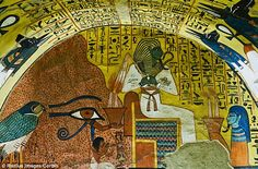 Osiris is a regular feature in ancient Egyptian tombs (shown here in a painting from the Tomb of Pashedu in luxor) along with the goddess Isis, whom is also shown in the Kushite scene