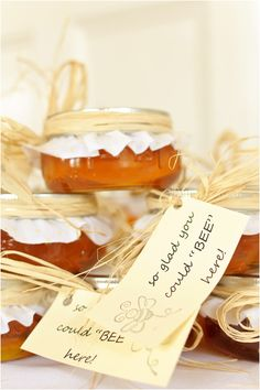 bee shower theme party favor... wrapping honey butter w twine is cute @Amy Lyons Lyons Lyons Lyons Stockholm