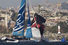 TURQUIA: Extreme Sailing Series 2014 - Estambul.  Dos barcos rompen el mástil en una primera jornada sin precedentes.
