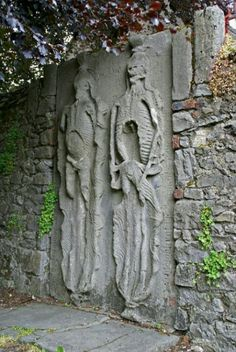 Tomb slab of Sir Edward Golding and Elizabeth Fleming who drowned in the River Boyne in the 16th century. Their spirits are said to haunt the area nearby the accident.  Located at the rear of St Peter's Church in Drogheda, Ireland.