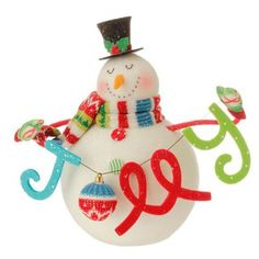 "RAZ Snowman with Jolly Sign  Made of Styrofoam, Poly Measures 12.5"" X 10.5"" Artist: Betsey Cavallo   RAZ Exclusive  RAZ 2015 Merry & Bright Collection This item is on order and will arrive"