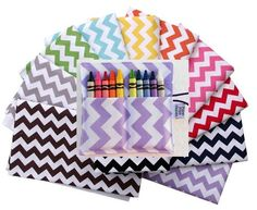 Chevron Party Favor Pack 15 Crayon Rolls - Mini Crayon Rolls - custom kids birthday party, wedding favor, class gift, custom color, rainbow on Etsy, $94.50