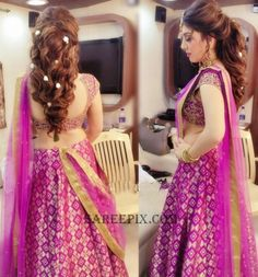 South indian diva Hansika in half saree photos in purple half saree for Saravana stores Ad shoot. She looked eye catchy in backless blouse. Lehenga Hairstyles, Bollywood Hairstyles, Hairstyles For Gowns, Bride Hairstyles, Hairstyles Haircuts, Latest Hairstyles, Hairdos, Bridal Hairstyle Indian Wedding, Bridal Hairdo